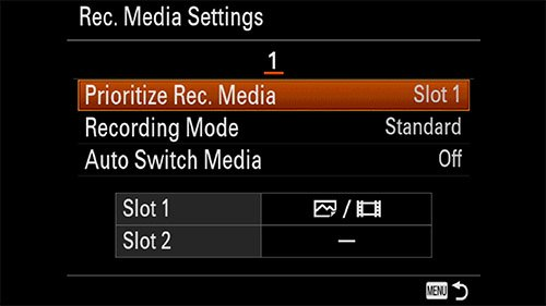 sony a7iii prioritize record media