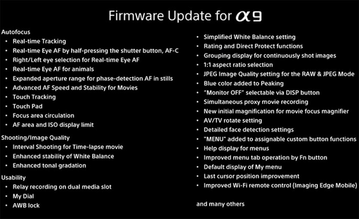 sony a9 firmware update features