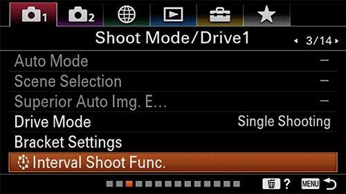 sony a6400 time-lapse setup shoot mode