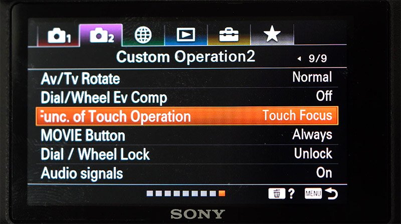 sony a6400 touch tracking in video mode menu setup