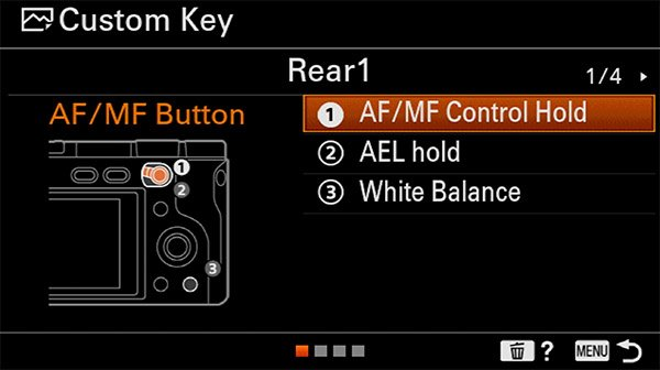 sony a6400 back button focus custom key