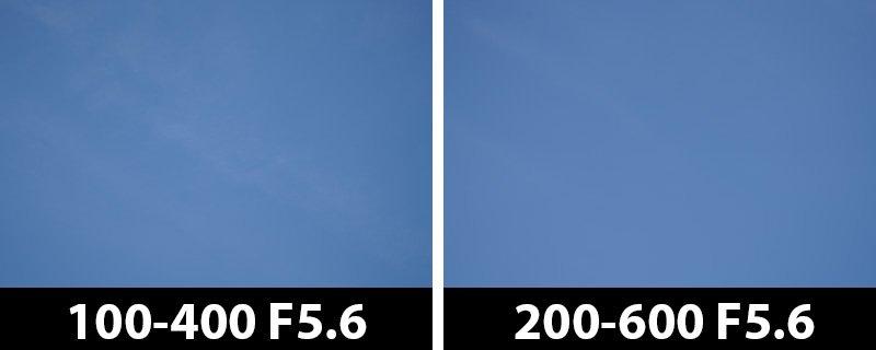 200mm vs 200mm vignetting corrections on