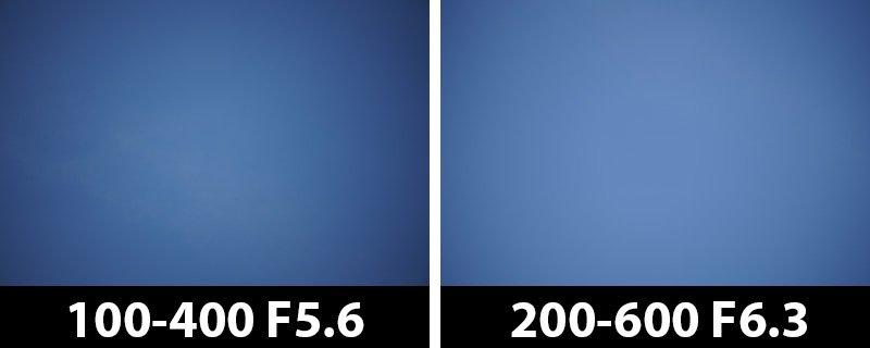 400mm vs 400mm vignetting corrections off