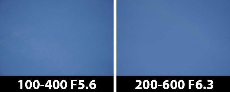 400mm vs 400mm vignetting corrections on