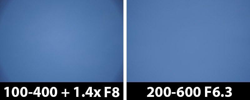 560mm vs 600mm vignetting corrections on