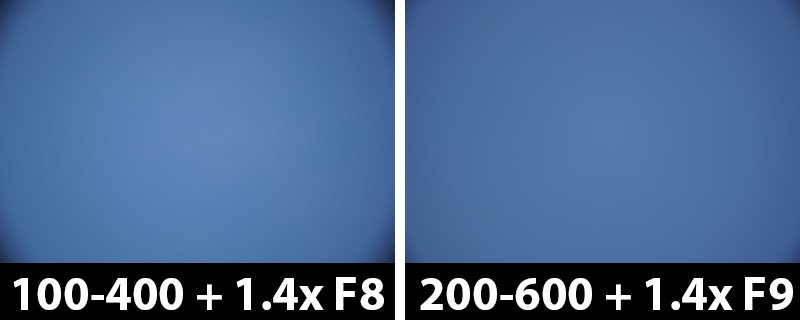 560mm vs 840mm 1.4x vignetting with corrections off