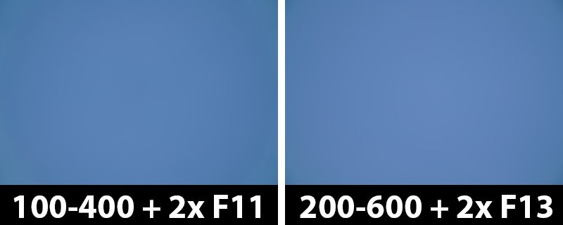 800mm vs 1200mm 2x vignetting-corrections on