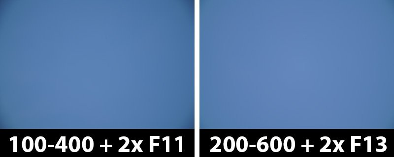 800mm vs 1200mm 2x vignetting with corrections off