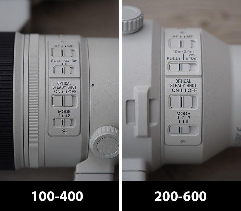 sony 200-600 vs 100-400 controls