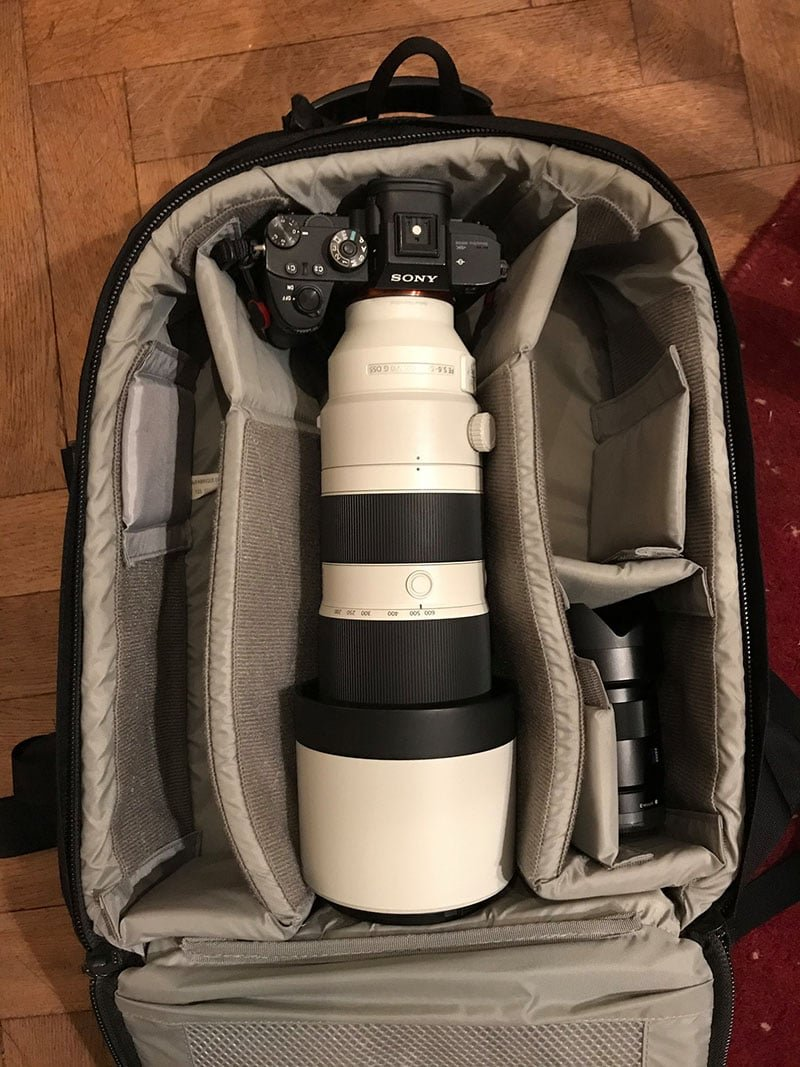 Lowepro Pro Runner BP 350 AW II with Sony 200-600 Lens Inside