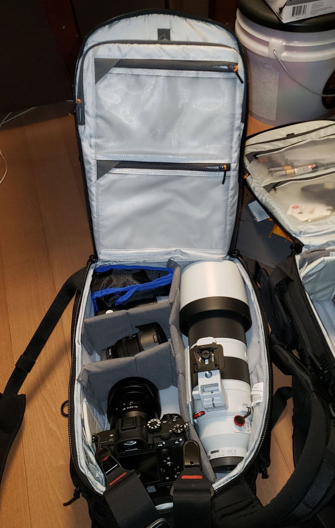 LowePro ProTactic BP 350 AW II with Sony FE 200-600 Inside