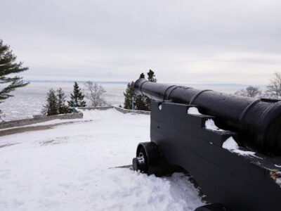Canon in snow on castle